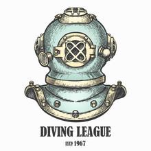 Diving Helmet Drawn In Vintage...