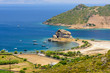Petra beach is a picturesque beach on the island of Patmos, aerial view in a Sunny summer day, Patmos island, Dodecanese, Greece