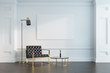 Leinwanddruck Bild - White living room, armchair and poster