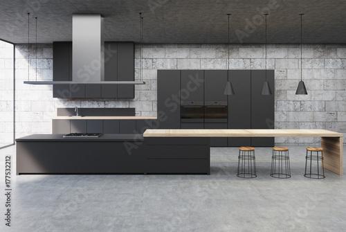 Fototapeta Concrete kitchen interior, black cabinets obraz
