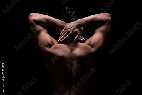 Fotografie, Obraz  weiblicher trainierter Rücken, Schultern und Arme, Lowkey