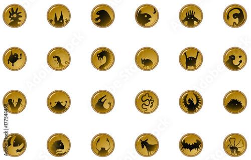 Fotografie, Obraz  Creature Shadow Button Icons