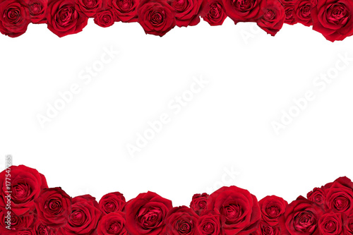 In de dag Roses Frame made of red roses. Isolated on white.