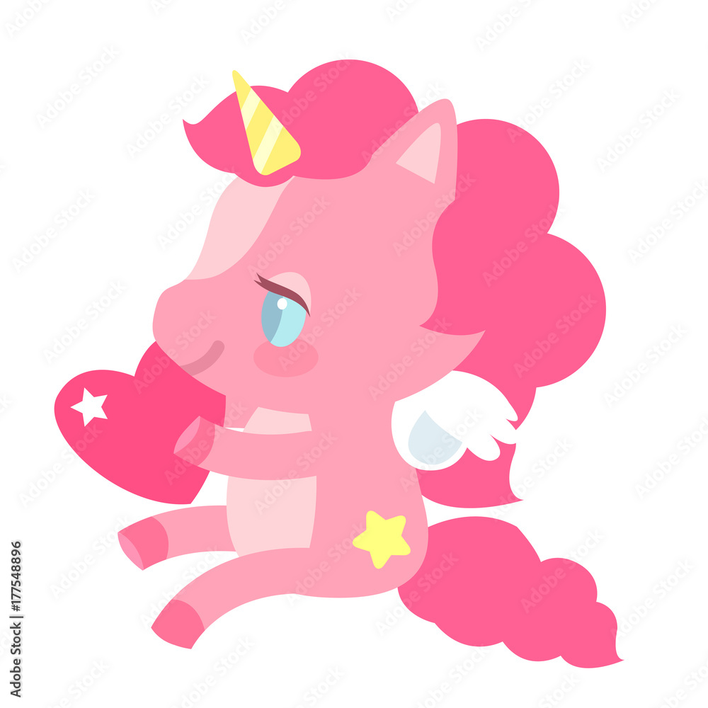 Photo  Cute pink unicorn with a heart