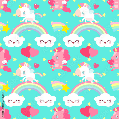 Photo Cute pink unicorn with a heart pattern