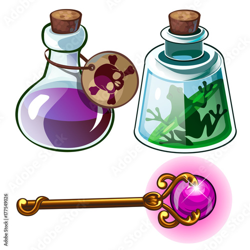 Fototapeta Toxic poison, frog in bottle and wizards golden wand. Witchcraft set of three items for games, mobile apps and other design needs. Vector illustration isolated on a white background obraz