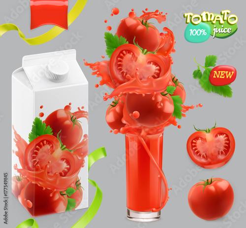 Tomato vegetables. Splash of juice. 3d realistic vector, package design set