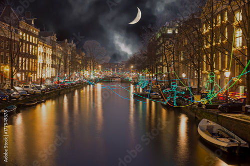 Photo  Amsterdam light festival in the canals from Amsterdam in the Netherlands