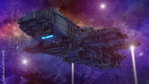 Plakat 3d rendering. Futurystyczny niezidentyfikowany obiekt latający