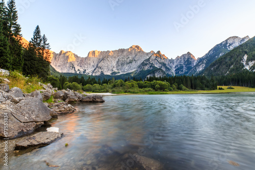 Poster Gris Sunset at the lake of Fusine, Italy