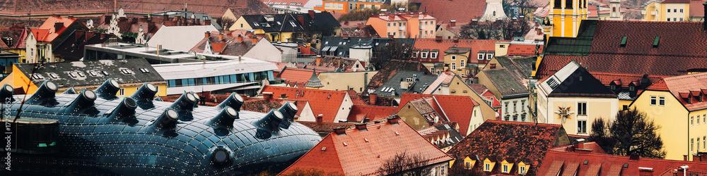 Fototapety, obrazy: Aerial view of historical part of Graz, Austria