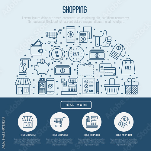 shopping concept with thin line icons in half circle template for
