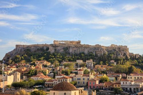 Plakat Ateny, Grecja. Akropol i Monastiraki
