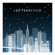 Winter night in San Francisco. Night city in flat style for banner, poster, illustration, game, background.