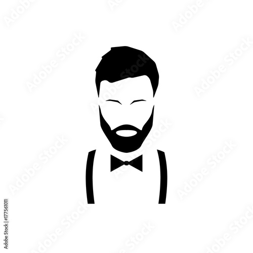 Obraz na plátně Avatar hipster with a beard in suspenders and a bow tie