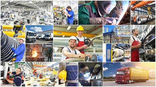 Obraz na płótnie Kolaż z zajęciami technicznymi - maszyny, budynki i ludzie w przemyśle i logistyce