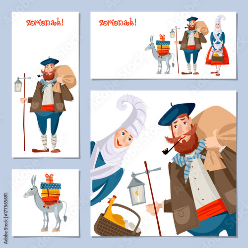 Spanish basque christmas tradition set of 4 christmas greeting spanish basque christmas tradition set of 4 christmas greeting cards with olentzero m4hsunfo