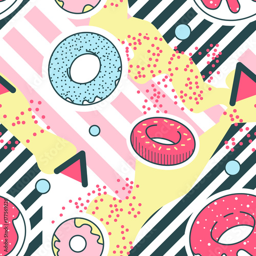 Obraz Abstract Background Memphis Style Geometric Shapes Seamless Pattern. Hipster Trendy Fashion Texture. Retro Fabric Poster with Donuts. Vector illustration - fototapety do salonu