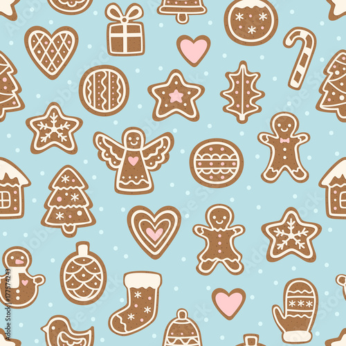 Seamless Pattern With Christmas Cookies Cute Gingerbread Man Angel
