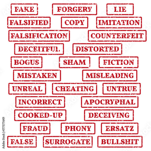 A set of rubber stamps on a theme: false, fake, imitation, fiction, bogus, fraud, bullshit, etc Canvas Print