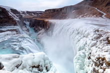 Gullfoss Waterfall View In The...