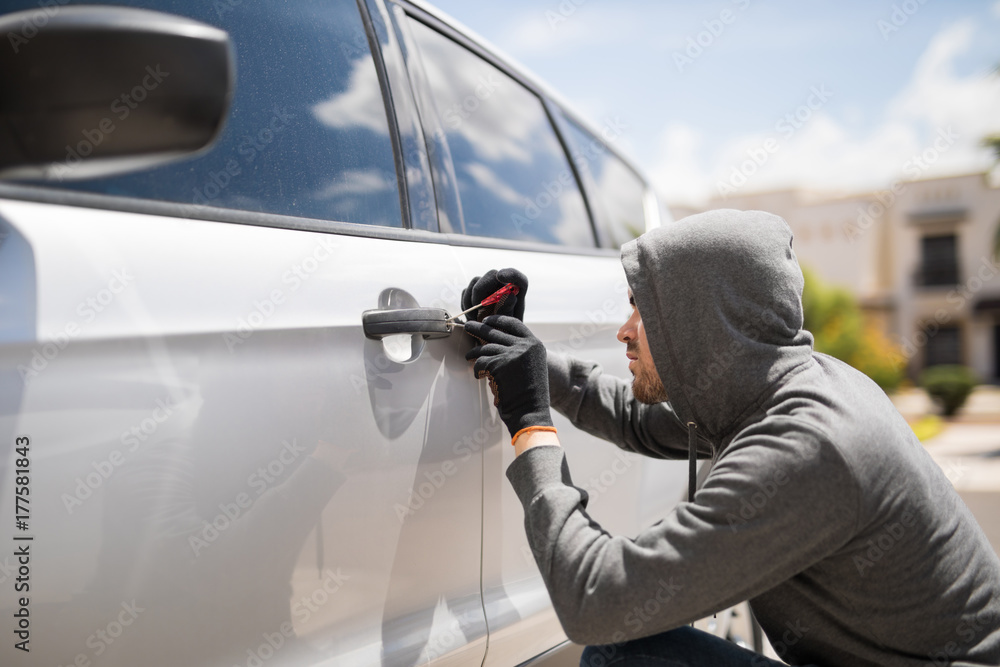Fototapeta Forcing entry and stealing a car