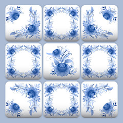 Panel SzklanyCobalt blue flower pattern tiles
