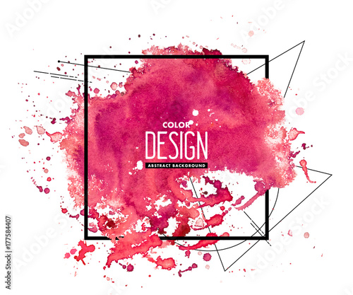 0daf6bd48da Pink abstract watercolor background with geometric pattern and place for  text. Hand drawn watercolor stains