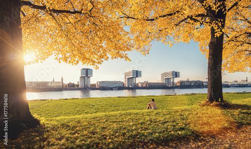Kölner Kranhäuser im Herbst zum Sonnenuntergang