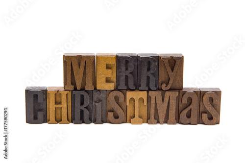Fotografie, Obraz  Merry Christmas Spelled in Type Set