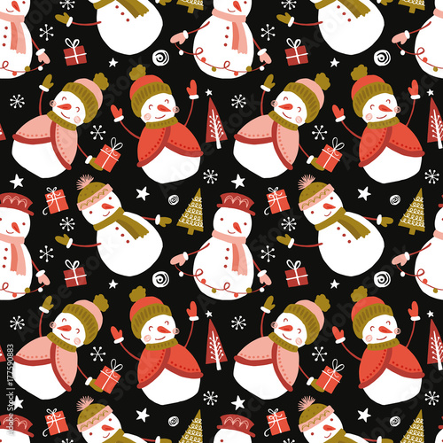 Cotton fabric Holiday and Christmas hand drawing seamless pattern