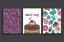 Poster Vector Template With Pie. Advertising For Bakery Shop Or Cafe. Sweet Background.