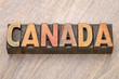 Canada - word abstract in wood type