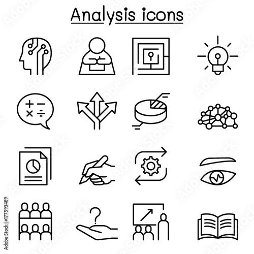 Photo Analysis icon set in thin line style