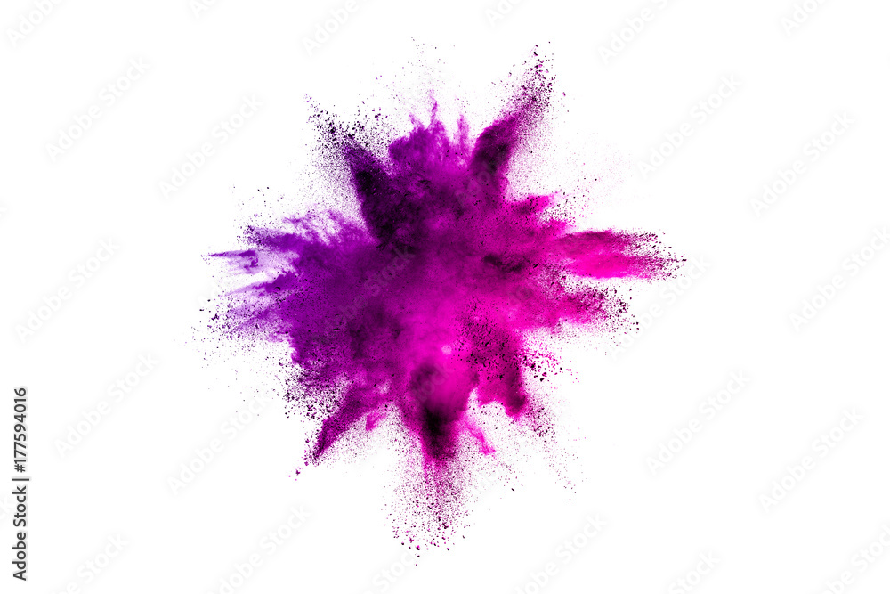 Fototapety, obrazy: Explosion of colored powder on white background