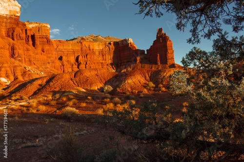 Garden Poster Brown Gorgeous colorful desert view of famous Chimney Rock in Capitol Reef National Park in Utah.