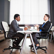 Two young businessmen, white desk, job interview, teamwork