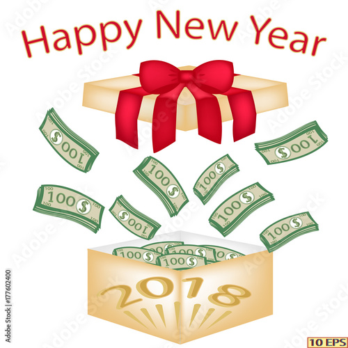 the new year 2018 christmas wads of hundred dollar bills in the box