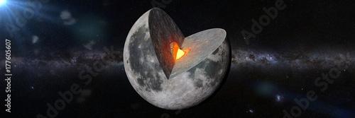 Fototapeta Struktura księżyca przed galaktyką Mlecznej Drogi