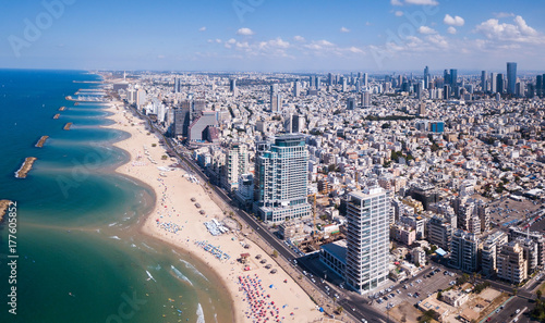 Foto auf Gartenposter Barcelona Tel Aviv skyline off the shore of the Mediterranean sea - Panoramic aerial image
