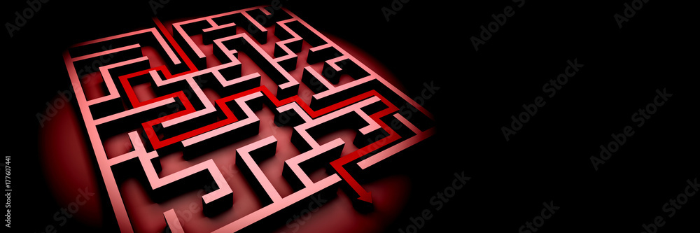 Fototapeta red maze structure on black background with arrow showing the path through the maze