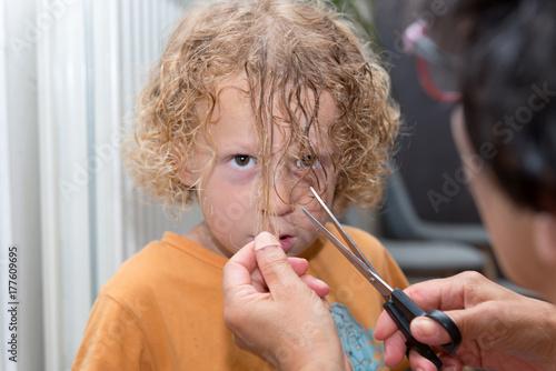 Plakat mały blond chłopiec dostaje swoje włosy