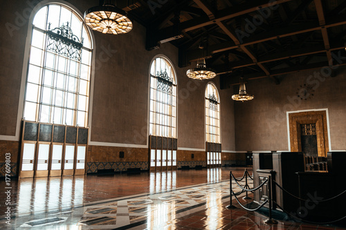 Photo Stands Train Station beautiful art deco lobby of union station, los angeles