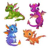 Fototapeta Dinusie - Little dragons set.