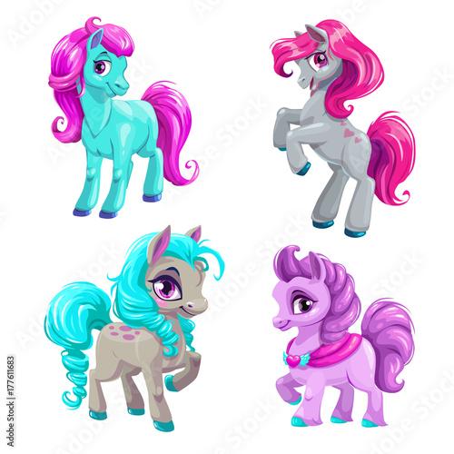 Obraz na plátně Cute cartoon little horses set.