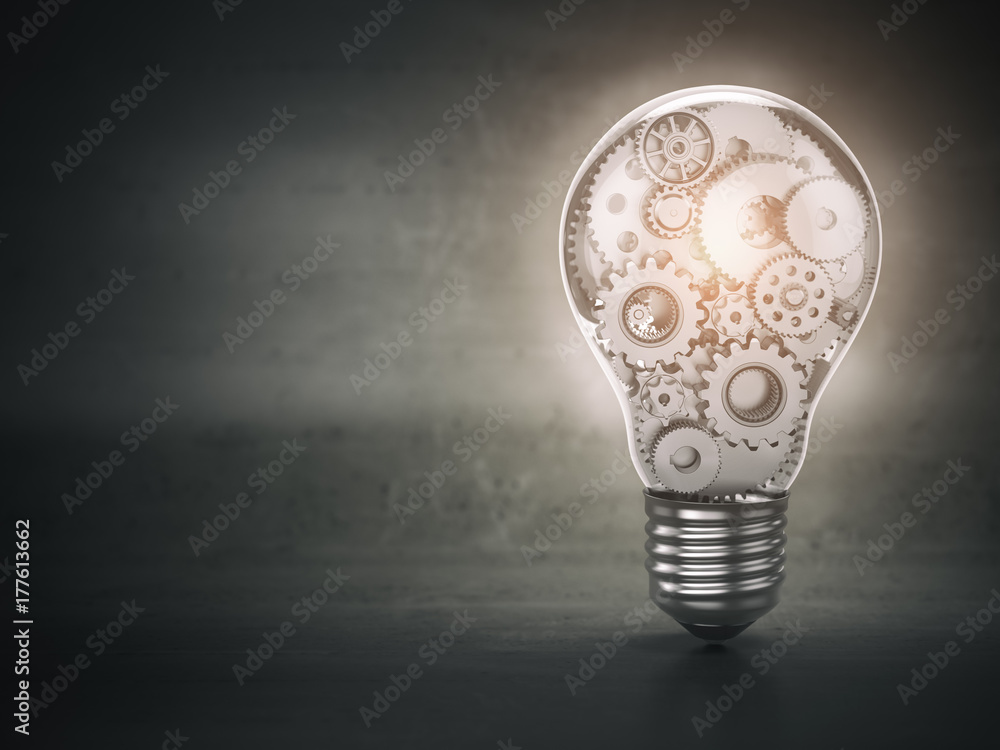 Fototapety, obrazy: Light  bulb and gears. Perpetuum mobile. Innovation, creativity and idea concept background.