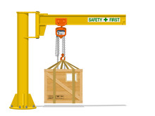 Isolated Jib Crane With Wooden...