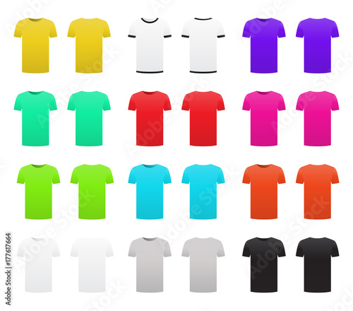9ab7013a1 T-shirt template pack set isolated on white background front and back  design short sleeve