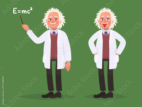 Photo  A cartoon portrait of Albert Einstein. Vector illustration