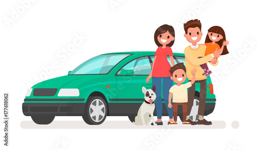 Foto op Canvas Cartoon cars Happy family with a car on a white background. Vector illustration
